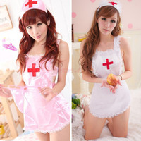 Wholesale Sexy Babydolls Women Chiffon White Pink Nurse Costume Fantasia Uniform Hot Fashion Exotic Lingerie SV005969