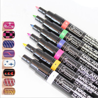 16 colors 2-Way Pen Brush Glitter/Shimmer Colorful Lady Nail Art Pen Polish Painting Design Drawing Tool 16 Colours available Fast-dryig Lasting Lustre
