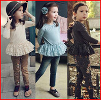Girl base brand clothing - 2016 NewSpring Autumn sweet Girls lace Peplum long sleeve T Shirts joker round collar pure cotton Kids Base Shirt Children Clothing