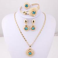 Wholesale Blue Red Black Stone Vintage Dubai k Gold Plated Crystal Fashion Necklace set Wedding Jewelryset Bridal Jewelry Sets