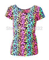 Women V-Neck Regular EAST KNITTING X-181 New 2014 Sexy Leopard Striped Print Women t shirt Summer Top Punk Ladies Clothes Plus Size