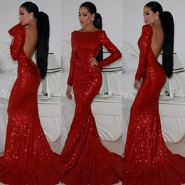 Wholesale 2016 Hot Selling Bling Bling Red Evening Dresses Bateau Neck Long Sleeve Backless Sequins Mermaid Sexy Formal Gowns Custom E14