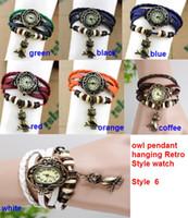 Antique antique wrist watch - 50pcs colors Hot Leather Vine Watches bracelet Retro owl pendant Quartz Woman Students wrist watch
