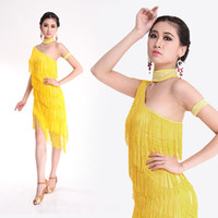 Wholesale Women One Shoulder Belly Latin Ballroom Dance Beads Tassles Dress