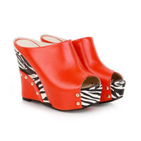Women Spool Heel PU ENMAYER 2014 new women sandals sexy pumps high heels size 11 the fish's mouth shoes wedges sandals Leopard grain Red Black White