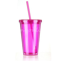 Wholesale Lovely Pink Smoothie Iced Coffee Juice Plastic Drinks Cup With Straw Party Liquid Beaker Lid Suitable For Girls