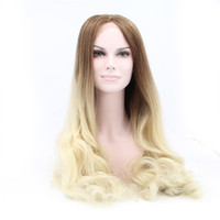 Ombre Color Natural Wave Synthetic hair Cheap Sexy Natural Wave Ombre Color Heat Resistant Wig Synthetic Lace Front Wig #Color & Style# As the Picture Show Free Shipping