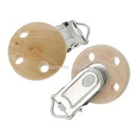 Wholesale Wood Baby Pacifier Clip Round Natural cm x cm quot x1 quot B36834