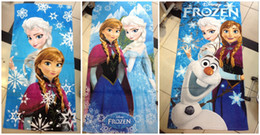 Wholesale New Retail Fashion Frozen bath towel Elsa Anna olaf cotton bathing body Beach towels children gift cm