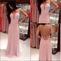 Newest Style Pink Prom Dresses Spaghetti Straps Backless Crystals Beadings Long Chiffon Sheath Party Gowns Custom Made P33 Transparent
