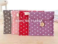 Fabric Bedding Storage Bags polka dot sanitary napkin bag fresh polka dot fluid sanitary napkin storage bag wood button health cotton