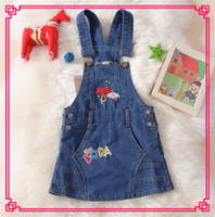 Wholesale Denim Suspender strap Cartoon DORA Washed Jeans dress Lovely Fashion Kids Pencil skirt Sleeveless Baby Girls s Cowboy casual Dress E005
