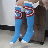 america wings - 24pcs pair USA NEW Fashion blue Captain America with wings star Film Fans Skateboarding Sport long Socks