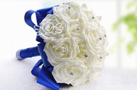 Wedding Bouquet Tiking Cotton Top Quality 2014 New Handmade Blue and White Rose Wedding Bouquet Bridal Flowers Rose Pearl Grass Wedding Accessories,B2216