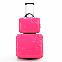 Wholesale Korea Hello Kitty cartoon luggage trolley suitcase caster cute female password box box