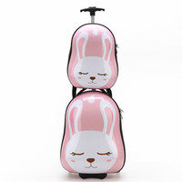 Wholesale Korean children trolley suitcase cute cartoon rabbit tiger backpack luggage check in picture box men and women
