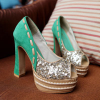 Women Pumps Summer ENMAYER Silver Green 2014 NEW fashion Glitter shoes women platform pumps party prom wedding shoes size 34-39