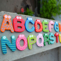 Wholesale Kids Educational Toy Wood Letters Alphabet Learning Fridge Magnet A Z Drop Shipping