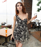 Runway Dresses Sleeveless Above Knee/ Mini 2014 spring summer women sexy Lace embroidery oblique shoulder dress party clothes Deep V-neck free shipping