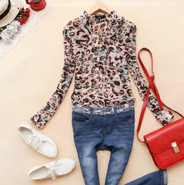 2013 Spring New Women Korean Leopard Stand-Up Collar And Long Sections Chiffon Long-Sleeved Shirt CS9106