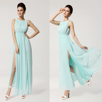 Model Pictures Halter Chiffon Sky Blue Halter Chiffon Prom Gown Evening Party Dresses Hot Open Side Split Maxi Dress Ankle-Length Ruffle Backless 2014 Prom Dress XYR108