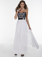 Cheap new Black And White Sweetheart Neckline A-Line Lace And Chiffon Stiching Bridesmaid Dresses 2014 Sexy Party Prom Dress Gowns Cheap