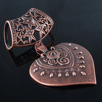Wholesale Hot Sale Vintage Copper Silver Tibetan Heart Scarf Pendant Accessories DIY Alloy Hollow Scarf Jewelry For Women