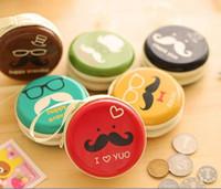 Wholesale Women Kids Childrens Cute Cartoon Mustache Hard shell Bags Round Mini Coin Purses Key holder Fashion Wallets Handbag headphone Pouch Pockets