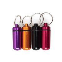 Camp Tools oem QS0005 Wholesale-Mini Aluminum Pill Medicine Box Case Bottle Holder Container Keychain Key Chain Organizer QS0005