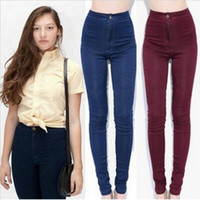 Wholesale American Apparel Miley Cyrus Women Vintage Style High Waist Jeans Pencil Pants Plus KZ4209