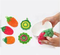 Wholesale Creative Strawberry Non Stick Oil Kitchen Cleaner Hand Crochet Dish Cloth Glass Fiber Dish Towel Fruit Kitchen Towel Colors Mix Order