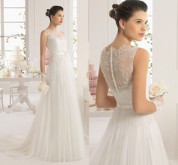 Wholesale vestido de novia Chapel Wedding Dress by Aire Barcelona A Line High Neck Lace Tulle Bridal Gown with Floral Sash Sheer Neck and Back