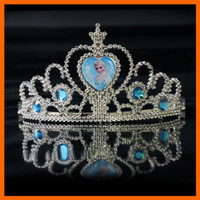 Wholesale crown tiara dress Elsa Anna princess crowns hearts diamond tiara baby girls party hair accessories pageant hairban