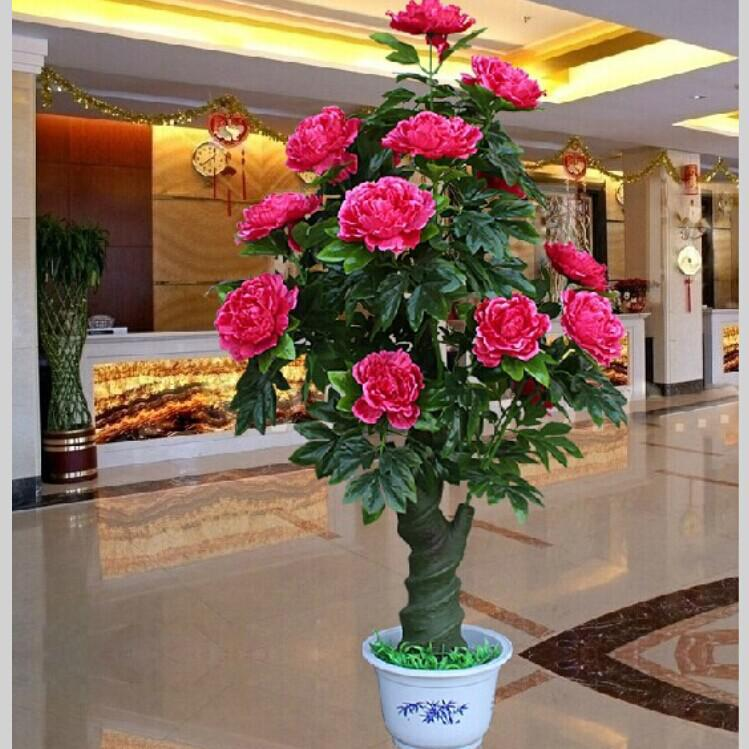 2014 New Artificial Rose Peony Silk Flower Tree Potted Plants For Christmas O