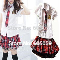 Wholesale Sexy British wind school girls costumes students sex cosplay girls short sleeve tie cloth skirt Club DS ul100