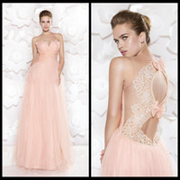 Wholesale 2015 Tarik Ediz SSJ Sheer Sweetheart Prom Dress Party Dresses Champagne Tulle Sleeveless Lace Bow Back Beads Crystal Ruched Floor Length