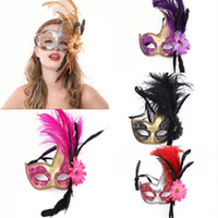 Wholesale Holloween Decoration Beautiful Feather Flower Mask Masquerade Lady Mask Party Festival Bar Mask Mixed Colors