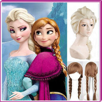 Wholesale New Cartoon Movie Frozen Snow Adult and children aged years Queen Anna Elsa Wig Long Braid Ponytail Cosplay Anime Wig