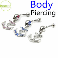 Wholesale New Hot Selling Lureme Brand Piercing L Surgical Titanium Steel Crystal Boat Anchor Pendant Navel Ring For Sexy Women