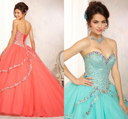 Wholesale New Arrival Sexy Ball Gown Quinceanera Dresses With Jacket Floor Length Sequins Beads Lace Up Back Formal Girls Birthday Party Dress