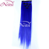 Cheap Synthetic hair Synthetic clip in Best 10colors Straight feather hair wigs