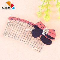 Hair Sticks Lace Character HLG new Korean fashion pearl embellishment fabric bow hair accessories comb hair accessories wholesale explosion models