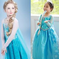 Wholesale Christmas Frozen Princess Dresses With Cape Girls Elsa Lace Dress Babies Clothes Long Sleeve Costume Kids Children Clothing Factory Direct