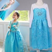 Wholesale Free DHL Frozen Princess Dresses With Cape Girls Elsa Lace Dress Frozen Fever Clothes Costume Children Clothing Factory Accept Picking Size