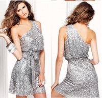 Reference Images Sequined One-Shoulder 2014 Cheap Silver Sequin Lace Homecoming Dresses One Shoulder Sleeveless Above Knee Length Short Sash Bow Party Formal Cocktail Gowns BO6530