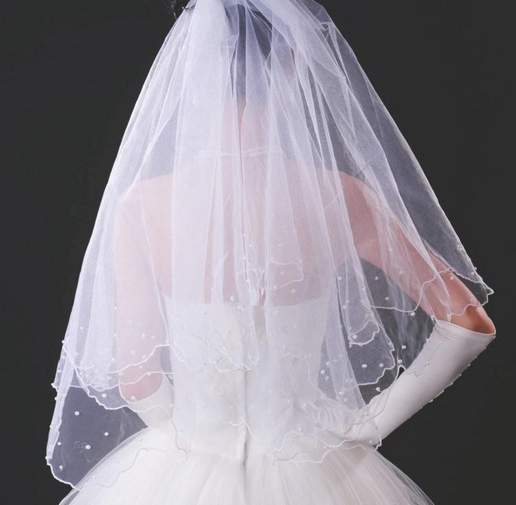 Cheap Bridal Veils Satin Edge Pearl Long Fall Autumn Garden Chpel Wedding Accessory Evening