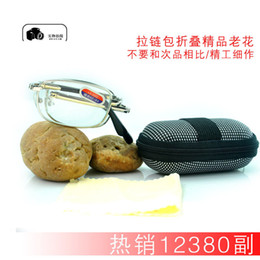 Wholesale Zipper bag folding reading glasses optical glass presbyopia best selling factory direct with glasses case