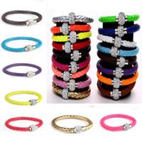 Wholesale 10pcs cm Hot Color PU Leather Weave Bracelet Shamballa Magnetic Clasps Rhinestone Handmade Women Bracelets