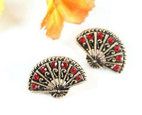 Charm Multicolor Europe and America Wholesale - European and American jewelry charm earrings retro fan sub diamond New Chinese style red diamond earrings Free Shipping