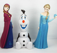 Silicone Rubber Piggy bank Stocked 2014 NEW cartoon Piggy bank Dolls Anna Elsa Olaf PVC Action Figure Toys Piggy Bank LJJA512 20pcs